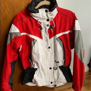 Red, White, and Gray Windbreaker Jacket
